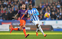Huddersfield Town's Adama Diakhaby battles with Manchester City's Nicolas Otamendi<br /> <br /> Photographer Dave Howarth/CameraSport<br /> <br /> The Premier League - Huddersfield Town v Manchester City - Sunday 20th January 2019 - John Smith's Stadium - Huddersfield<br /> <br /> World Copyright © 2019 CameraSport. All rights reserved. 43 Linden Ave. Countesthorpe. Leicester. England. LE8 5PG - Tel: +44 (0) 116 277 4147 - admin@camerasport.com - www.camerasport.com