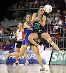 Vixens Sherelle McMahon and Mystics Leana De Bruin do battle during the Melbourne Vixens v  Northern Mystics, Final Round of the ANZ Championships at Hisense Arena 6-7-08.Photo: Grant Treeby