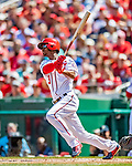 14 April 2018: Washington Nationals outfielder Michael A. Taylor in action against the Colorado Rockies at Nationals Park in Washington, DC. The Nationals rallied to defeat the Rockies 6-2 in the 3rd game of their 4-game series. Mandatory Credit: Ed Wolfstein Photo *** RAW (NEF) Image File Available ***