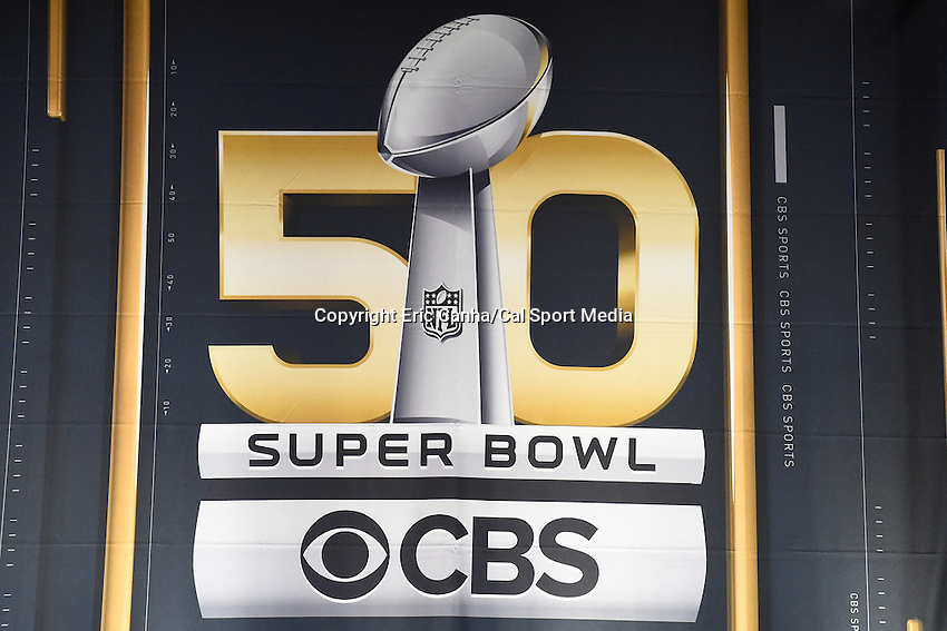 Monday, February 1, 2016:  The Super Bowl 50 logo is displayed on a banner during opening day of  press conferences for the National Football League Super Bowl 50 between the Denver Broncos and the Carolina Panthers at the Moscone Center in San Francisco, California. Eric Canha/CSM