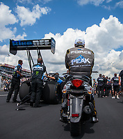Sep 2, 2018; Clermont, IN, USA; NHRA funny car driver John Force watches as daughter Brittany Force prepares to race during top fuel dragster qualifying for the US Nationals at Lucas Oil Raceway. Mandatory Credit: Mark J. Rebilas-USA TODAY Sports
