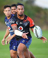 James Gavet.<br /> Vodafone Warriors training session. Mt Smart Stadium, Auckland, New Zealand. NRL Rugby League. Wednesday 9 May 2018 &copy; Copyright photo: Andrew Cornaga / www.photosport.nz