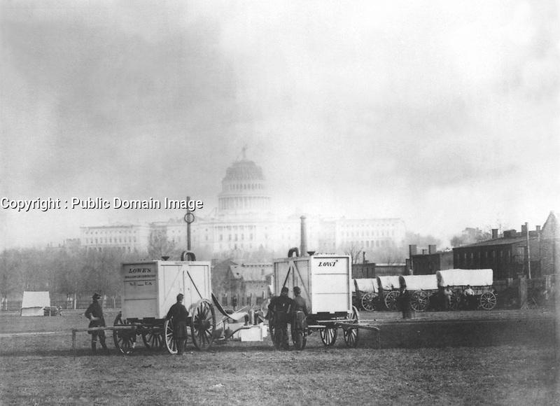 Prof. Thaddeus Lowe's Balloon Gas Generators. The U.S. Capitol in background, Washington D.C, ca. 1861. (Dept. of Agriculture)<br /> Exact Date Shot Unknown<br /> NARA FILE #:  016-AD-2<br /> WAR & CONFLICT BOOK #:  227