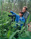 PERU, Amazon Rainforest, South America, Latin America, Ted Conover and his son Asa Conover watching bird in Tambopata National Reserve