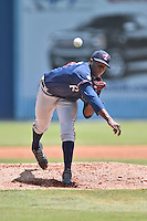 Rome Braves starting pitcher Touki Toussaint (23) delivers a pitch during a game against the Asheville Tourists on July 26, 2015 in Asheville, North Carolina. The Tourists defeated the Braves 16-4. (Tony Farlow/Four Seam Images)