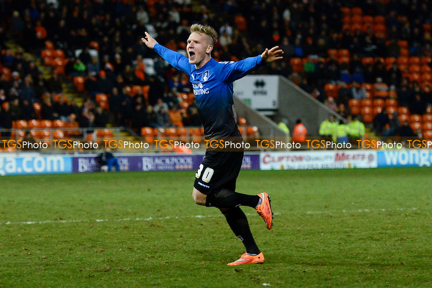 Matt Ritchie of Bournemouth celebrates his goal after putting his side three nil up - Blackpool vs AFC Bournemouth - Sky Bet Championship Football at Bloomfield Road, Blackpool, Lancashire - 20/12/14 - MANDATORY CREDIT: Greig Bertram/TGSPHOTO - Self billing applies where appropriate - contact@tgsphoto.co.uk - NO UNPAID USE