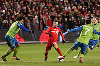 Toronto, ON, Canada - Saturday Dec. 10, 2016: Sebastian Giovinco, Roman Torres, Cristian Roldan, Erik Friberg during the MLS Cup finals at BMO Field. The Seattle Sounders FC defeated Toronto FC on penalty kicks after playing a scoreless game.