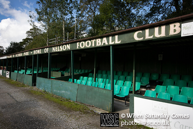 Nelson 3 Daisy Hill 6, 12/10/2019. Victoria Park, North West Counties League, First Division North. The main stand pictured before Nelson hosted Daisy Hill. Founded in 1881, the home club were members of the Football League from 1921-31 and has played at their current ground, known as Little Wembley, since 1971. The visitors won this fixture 6-3, watched by an attendance of 78. Photo by Colin McPherson.