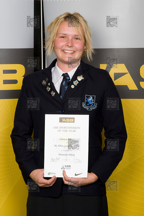 Girls Mountain Biking winner Adrienne Hooper from Mt Albert Grammar School. ASB College Sport Young Sportperson of the Year Awards 2008 held at Eden Park, Auckland, on Thursday November 13th, 2008.