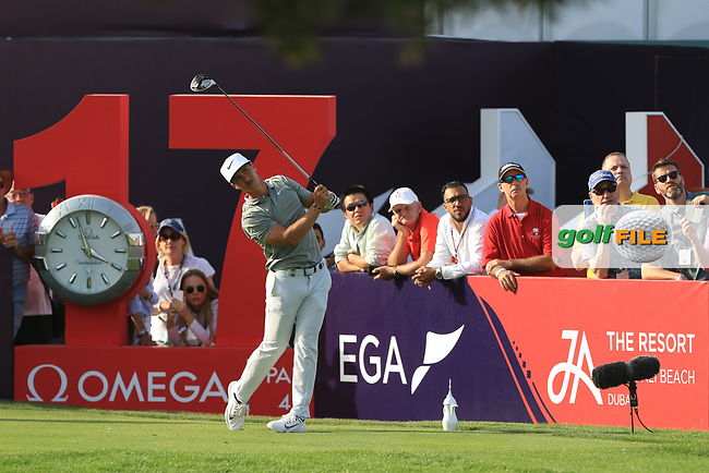 Thorbjorn Olesen (DEN) on the 17th tee during Round 4 of the Omega Dubai Desert Classic, Emirates Golf Club, Dubai,  United Arab Emirates. 27/01/2019<br /> Picture: Golffile | Thos Caffrey<br /> <br /> <br /> All photo usage must carry mandatory copyright credit (&copy; Golffile | Thos Caffrey)
