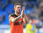 Ipswich's Luke Chambers applauds the fans at the final whistle during the Sky Bet Championship League match at The Cardiff City Stadium.  Photo credit should read: David Klein/Sportimage