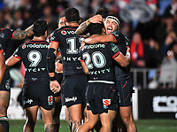 Jazz Tevaga celebrates as he hugs Mason Lino.<br /> NRL Premiership rugby league. Vodafone Warriors v St George Illawarra. Mt Smart Stadium, Auckland, New Zealand. Friday 20 April 2018. &copy; Copyright photo: Andrew Cornaga / www.Photosport.nz