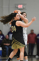 Charleston guard Addison Newhart (24) covers Elkins Bryn Shirley (25), Friday, February 14, 2020 during a basketball game at Elkins High School in Elkins. Check out nwaonline.com/prepbball/ for today's photo gallery.<br /> (NWA Democrat-Gazette/Charlie Kaijo)