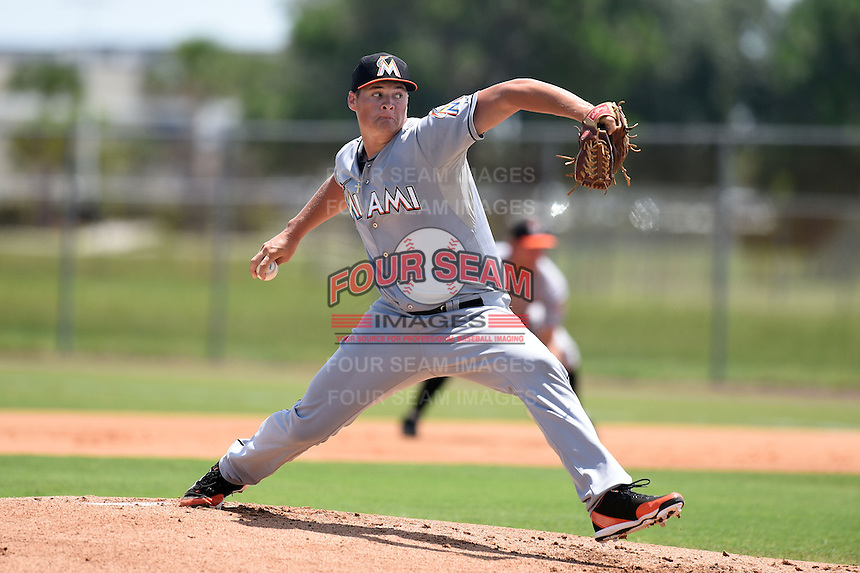 GCL Marlins starting pitcher Tyler Kolek (34) delivers his first pitch during a game against the GCL Nationals on June 28, 2014 at the Carl Barger Training Complex in Viera, Florida.  GCL Nationals defeated the GCL Marlins 5-0.  (Mike Janes/Four Seam Images)