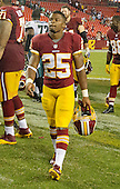 Washington Redskins kick-off andy punt returner Chris Thompson (25) leaves the field at FedEx Field in Landover, Maryland on Monday, September 9, 2013 following his team's 33 - 27 loss to the Philadelphia Eagles.<br /> Credit: Ron Sachs / CNP