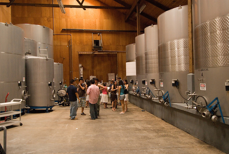 California, San Luis Obispo County: At Eberle Winery and vineyards in Paso Robles, noted for red wines. Tour of winery, stainless steel tanks..Photo caluis134-71045..Photo copyright Lee Foster, www.fostertravel.com, 510-549-2202, lee@fostertravel.com