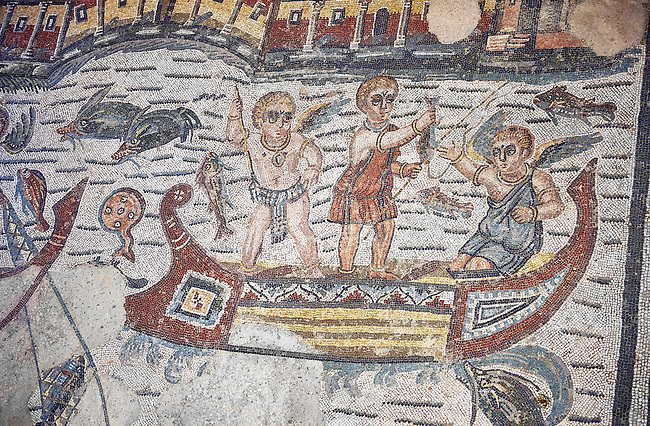 Detail of a Roman Mosaic from the Room of The Fishing Cupids, room 24, at the Villa Romana del Casale, first quarter of the 4th century AD. Sicily, Italy. A UNESCO World Heritage Site.