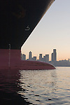 Seattle, Container Ship, Port of Seattle, skyline, sunrise, Elliott Bay, ship bow, international shipping, trade, maritime industry,