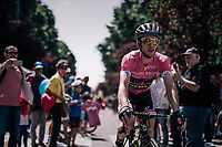 Maglia Rosa / overall leader Simon Yates (GBR/Mitchelton-Scott) at the race start in Abbiategrasso<br /> <br /> stage 18: Abbiategrasso - Pratonevoso (196km)<br /> 101th Giro d'Italia 2018