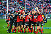 June 3rd 2017, AMI Stadium, Christchurch, New Zealand; Super Rugby; Crusaders versus Highlanders;  The Crusaders celebrates the match the Super Rugby match
