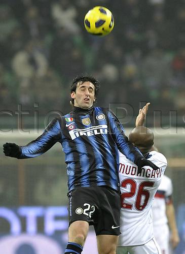 15 01 2011  Diego Milito Inter and Gaby Mudingayi Bologna Inter Milan versus Bologna.   Stadio Giuseppe Meazza San Siro Milano