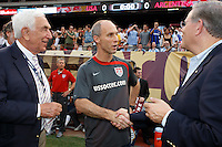 United States head coach Bob Bradley shakes hands with US Senator Bob Menendez prior to the match. The men's national teams of the United States and Argentina played to a 0-0 tie during an international friendly at Giants Stadium in East Rutherford, NJ, on June 8, 2008.