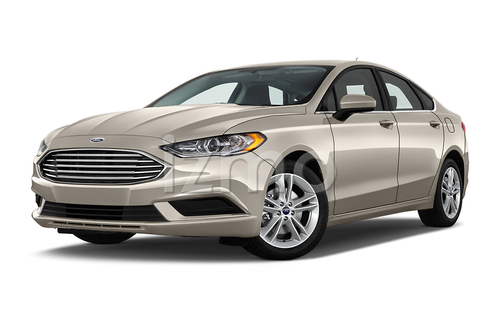 Stock pictures of low aggressive front three quarter view of a 2018 Ford Fusion SE 4 Door Sedan