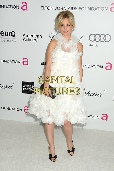Mena Suvari.20th Annual Elton John Academy Awards Viewing Party held at West Hollywood Park, West Hollywood, California, USA..February 26th, 2012.oscars full length dress white sheer tulle ruffle sleeveless black shoes clutch bag.CAP/ADM/BP.©Byron Purvis/AdMedia/Capital Pictures.
