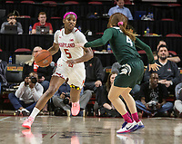 COLLEGE PARK, MD - FEBRUARY 03: Kaila Charles #5 of Maryland moves up on Taryn McCutcheon #4 of Michigan State during a game between Michigan State and Maryland at Xfinity Center on February 03, 2020 in College Park, Maryland.
