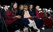 United States President Barack Obama and (L-R) daughters Malia and Sasha, mother-in-law Marian Robinson and first lady Michelle Obama look on during the national Christmas tree lighting ceremony on the Ellipse south of the White House December 3, 2015 in Washington, DC. The lighting of the tree is an annual tradition attended by the President and the first family.<br /> Credit: Olivier Douliery / Pool via CNP