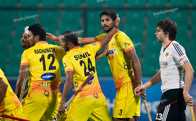 Mens Hockey World league Final Delhi 2014<br /> Day 3, 12-01-2014<br /> Indian v Germany Day 3<br /> <br /> Photo: Grant Treeby / treebyimages