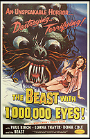 BNPS.co.uk (01202 558833)<br /> Pic: Bonhams/BNPS<br /> <br /> The Beast with 1,000,000 Eyes!, 1955, estimate &pound;1,200.<br /> <br /> A wacky collection of sci-fi and horror genre B movie posters from the 'Golden Age of Hollywood' have emerged for sale. <br /> <br /> The 15-strong assortment of obscure advertisements spans from 1933 until 1966 and are worth up to &pound;5,000 each. <br /> <br /> B movies were characterised by their low-budget and extravagant posters, which were often better received than the actual film. <br /> <br /> The most expensive is an 83ins by 39ins poster for the 1933 film Ghoul, which is expected to fetch &pound;5,000. <br /> <br /> The posters have been consigned to auction by a selection of UK sellers to auctioneer Bonhams.