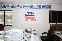 A look inside the campaign headquarters of Republican presidential candidate Donald Trump in Manchester, New Hampshire, on the day of the primary, Tues., Feb. 9, 2016. Donald Trump won the primary.