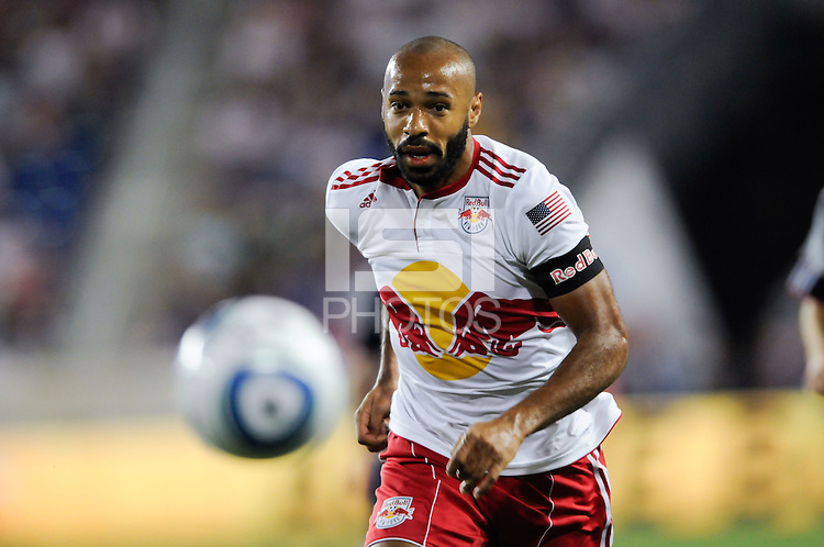 Thierry Henry (14) of the New York Red Bulls. The New York Red Bulls defeated the New England Revolution 2-1 during a Major League Soccer (MLS) match at Red Bull Arena in Harrison, NJ, on June 10, 2011.