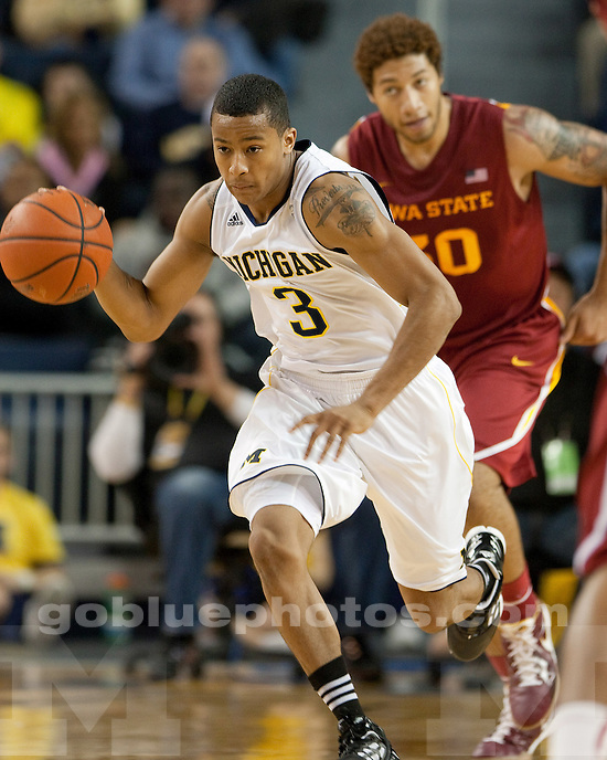 University of Michigan men's basketball team beat Iowa State, 76-66, at Crisler Arena in Ann Arbor, Mich., on December 3, 2011.