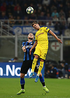 Football Soccer: UEFA Champions League -Group Stage- Group F Internazionale Milano vs Borussia Dortmund, Giuseppe Meazza stadium, October 23, 2019.<br /> Borussia Dortmund's Thorgan Hazard (r) in action with Inter's Milan Skriniar (l) during the Uefa Champions League football match between Internazionale Milano and Borussia Dortmund at Giuseppe Meazza (San Siro) stadium, on October 23, 2019.<br /> UPDATE IMAGES PRESS/Isabella Bonotto