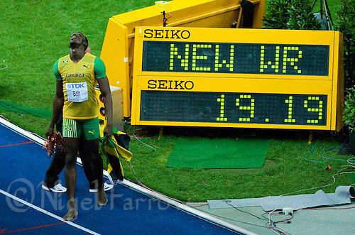 20 AUG 2009 - BERLIN, GER - Usain Bolt (JAM) celebrates winning the Mens 200m Final at the World Athletics Championships .(PHOTO (C) NIGEL FARROW)