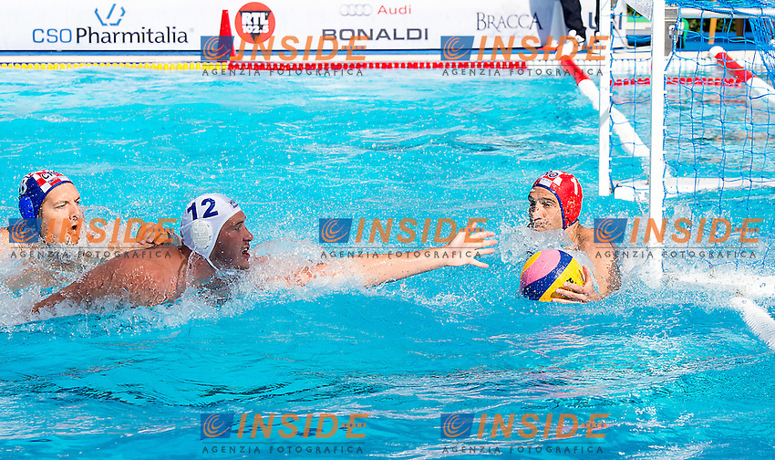 12 HARAI Balazs HUN 1 PAVIC Josip CRO<br /> Hungary HUN (white) - Croatia CRO (blue)<br /> day 02 - 24/06/2015<br /> FINA Water Polo World League Superfinal Men<br /> Bergamo (ITA) 23-28 June 2015<br /> Photo G.Scala/Deepbluemedia