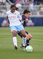 Chicago Red Stars defender Ifeoma Dieke (4) shields the ball against Washington Freedom forward Lisa De Vanna (17) Washington Freedom tied Chicago Red Stars 1-1  at The Maryland SoccerPlex, Saturday April 11, 2009.