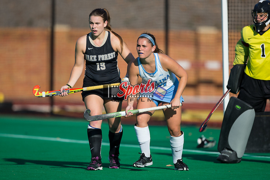 Gab Major (27) of the North Carolina Tar Heels is marked by Shannon Eby (19) of the Wake Forest Demon Deacons during second half action at Kentner Stadium on October 23, 2015 in Winston-Salem, North Carolina.  The Demon Deacons defeated the Tar Heels 3-2.  (Brian Westerholt/Sports On Film)