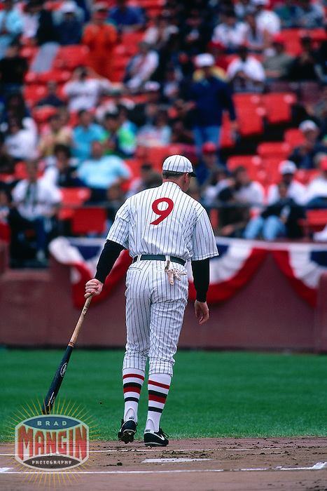 SAN FRANCISCO, CA - Matt Williams of the San Francisco Giants does his Babe Ruth impersonation before a turn back the clock game against the Chicago Cubs at Candlestick Park in San Francisco, California in 1991. Photo by Brad Mangin