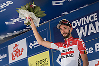 stage winner Jelle Vanendert (BEL/Lotto Soudal) with the podium flowers.<br /> <br /> Baloise Belgium Tour 2018<br /> Stage 4:  Wanze - Wanze 147.3km