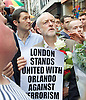 Vigil for the people murdered in the Pulse Club shooting in Orlando Florida by Omar Mateen<br /> in Old Compton Street, London, Great Britain <br /> 13th June 2016 <br /> <br /> <br /> Jeremy Corbyn <br /> Leader of the labour Party <br /> <br /> <br /> <br /> Photograph by Elliott Franks <br /> Image licensed to Elliott Franks Photography Services