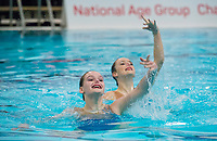 Picture by Allan McKenzie/SWpix.com - 25/11/2017 - Swimming - Swim England Synchronised Swimming National Age Group Championships 2017 - GL1 Leisure Centre, Gloucester, England - Millicent Costello & Isobel Davies.