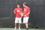 April 25, 2012; San Diego, CA, USA; Gonzaga Bulldogs athletes Zhia Hwa Chong (left) and Scott Sullivan (right) during the WCC Tennis Championships at the Barnes Tennis Center.
