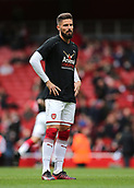 1st October 2017, Emirates Stadium, London, England; EPL Premier League Football, Arsenal versus Brighton; Olivier Giroud of Arsenal warms up before kick off