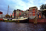 Old ship on an Amsterdam canal.