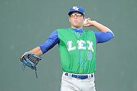 Starting pitcher Cody Reed (9) of the Lexington Legends warms up before a game against the Greenville Drive on Friday, August 29, 2014, at Fluor Field at the West End in Greenville, South Carolina. Reed was a second-round pick of the Kansas City Royals in the 2013 First-Year Player Draft. (Tom Priddy/Four Seam Images)