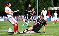 Lincoln United's Kallum Smith is tackled by Lincoln City trialist Jacob Fenton<br /> <br /> Photographer Chris Vaughan/CameraSport<br /> <br /> Football - Pre-Season Friendly - Lincoln United v Lincoln City - Saturday 8th July 2017 - Sun Hat Villas Stadium - Lincoln<br /> <br /> World Copyright &copy; 2017 CameraSport. All rights reserved. 43 Linden Ave. Countesthorpe. Leicester. England. LE8 5PG - Tel: +44 (0) 116 277 4147 - admin@camerasport.com - www.camerasport.com