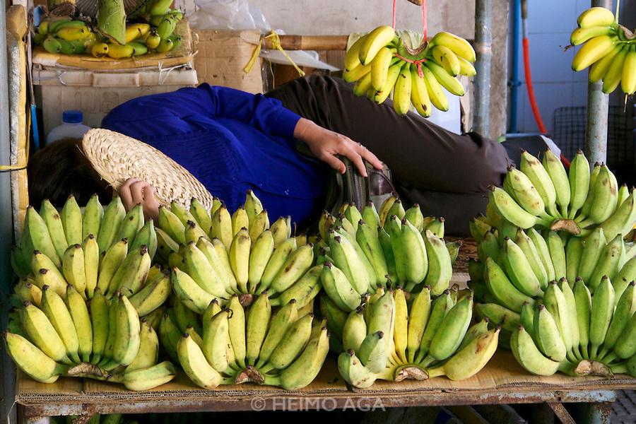 Phnom Penh, Cambodia. Central Market. Bananas.